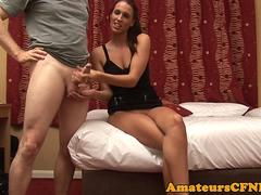 British CFNM babe tugs dick after pussyplay