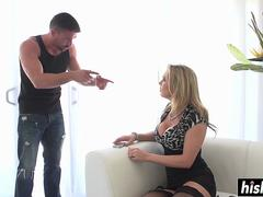 Horny blonde in stockings gets pounded