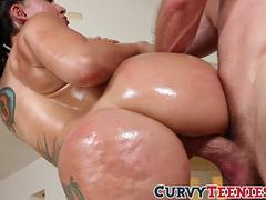 Big ass Mandy Muse gets oiled and hammered hard and raw