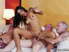 Chubby ebony old white and teacher young girl Staycation with a Latin Hottie