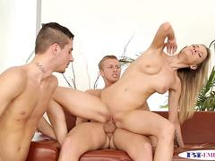 Muffdiving bisex twink jizzed after mmf trio
