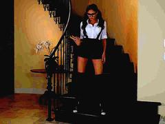All natural brunette babe Ariana Marie masturbating on the stairs