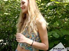 Eurobabe Linda Leclair fucked in public for some money