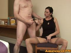 Masturbating domina teases naked sub