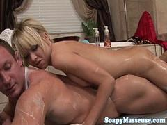WAM masseuse rubbing body and cock till cum