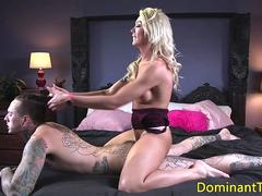 Blonde transgender anal fucks before cuming