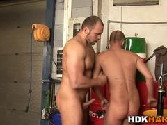 Gay muscly guy rides cock