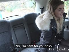 Blonde in stockings rides taxi drivers dick