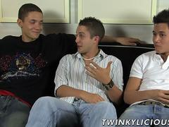Threesome jerking with Trevin Nills Michael Lee and Ty Sloan