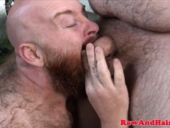 Outdoors barebacked superchub wanks cumload
