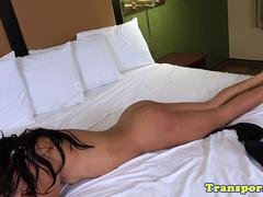 Petite black tranny wanking in bedroom