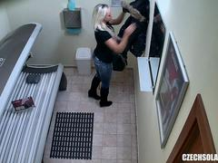 Blonde Beauty Secretly Fingering Pussy in Public Solarium