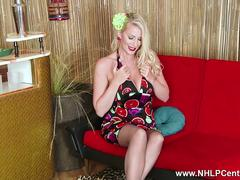 Busty blonde Danielle Maye opens long nylon legs and masturbates in black girdle with high heels