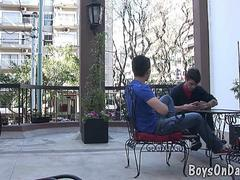 hunky twink boys hook-up at the cafe segment