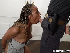 Misty Stone sucking her parole officers cock