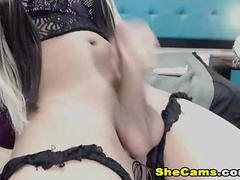 Beautiful Shemale Strokes her Huge Cock