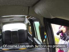 Ebony gets anal fuck in London fake taxi