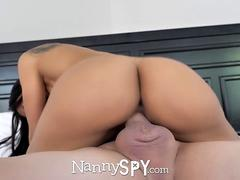 NannySpy Big tits nanny Amia Miley caught on hidden cams