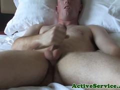 Buzzcut army amateur tugging on his cock