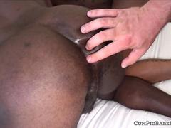 Rimmed black stud barebacked in threesome