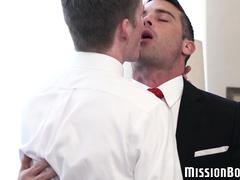 Freckled twink cums while being barebacked by Mormon elder
