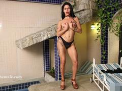 Brazilian Shemale Strokes and Spreads Her Brown Hole