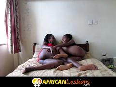 Slim African lesbians eat too much pussy