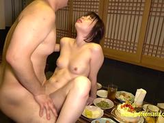 Jav Teen Idol Haruka Okajima Fucks Old Businessmen On The Floor And Food Table Cute Cheeky Teen