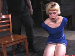 Inked beauty toyed and restrained by master