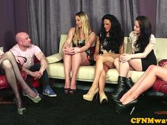 Gorgeous babes enjoy CFNM domination