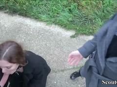 GERMAN AMATEUR COUPLE Blackmail Teen to FFM Fuck Outdoor