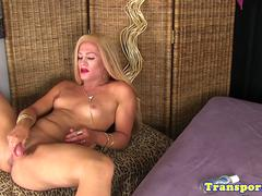 Blonde smalltitted trans goddess wanking solo