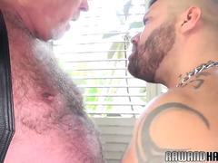 Mature chub rimming inked wolf from behind