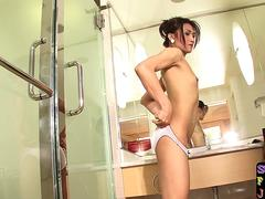 Gorgeous asian ts assfucked after rimming