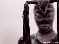 Ebony shemale in latex