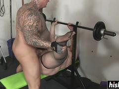 Fat Timycat gets fucked in the gym