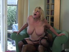 Hot interracial fuck with perfect blonde mature in lingerie