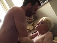 Pixie subslut Mila Milan fed jizz after anal hammering