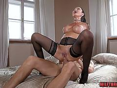 Brunette milf anal and cum in mouth