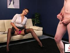 Busty CFNM office cougar gives JOI to sub guy