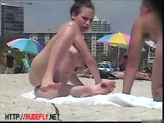 Hot naked women filmed by a nude beach voyeur