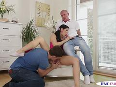 Bisexual stud eats pussy while fucked