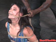 Submissive slave gets bound and flogged