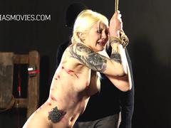Tattooed slut shamelessly beaten with a whip