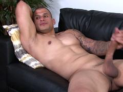 Tattooed studs spray jizz over buff soldier