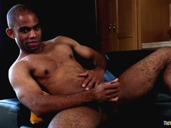 Muscular black amateur tugging during solo