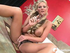 Desirable blonde loves to use a dildo