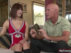 Cute trans babe cheerleader throats and ass fucked by coach