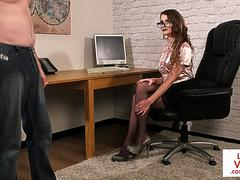 CFNM voyeur Brit gives JOI at the office
