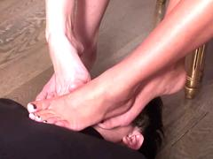 Fetish Girls forced guys to sniff on their feet